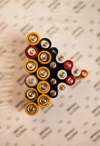76 Yamaha Xs 500 Battery Exide - image of batteries that appear to be in an play button formation